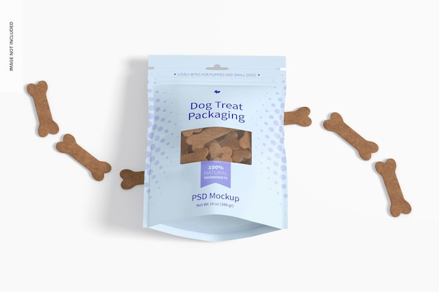 Dog treat packaging mockup, perspective view
