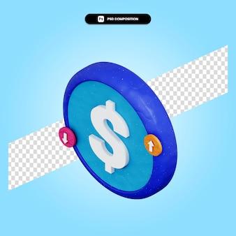 Dollarteken 3d render illustratie geïsoleerd