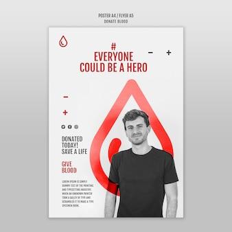 Donar sangre diseño de plantilla de cartel