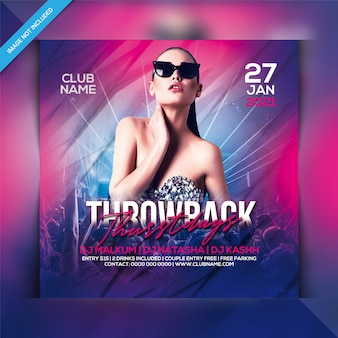 Donderdag throwback party flyer-sjabloon