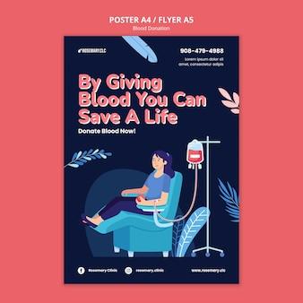 Doneer bloed poster sjabloon