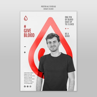 Doneer bloed poster sjabloonstijl