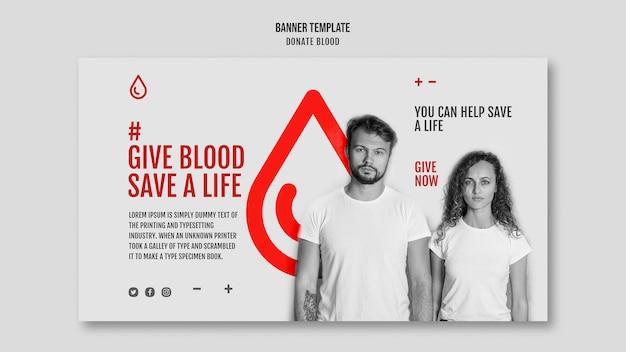 Doneer bloedcampagne sjabloon voor spandoek