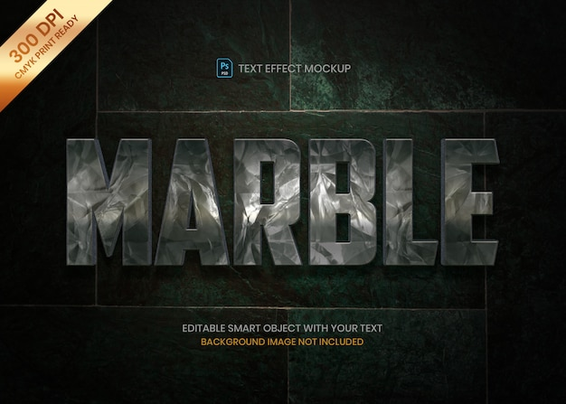 Donker marmeren steen 3d logo tekst effect psd-sjabloon.