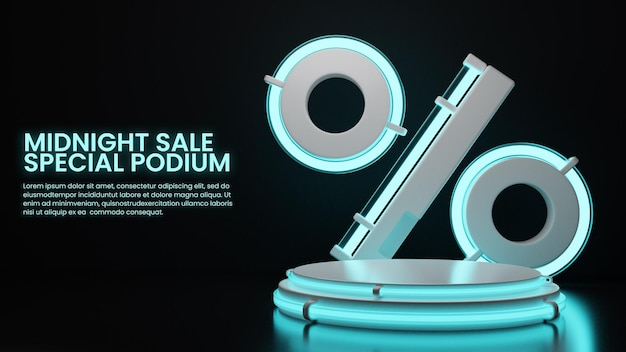 Donker neon podium met procent icoon productdisplay