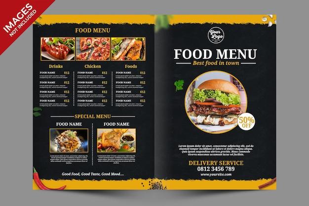 Donker vintage menu voor eten en drinken het beste voor restaurantpromotie premium psd-sjabloon