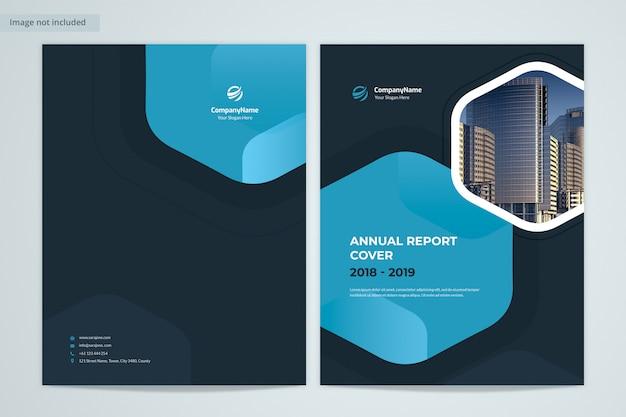 Donkerblauw front & back jaarverslag omslagontwerp met afbeelding