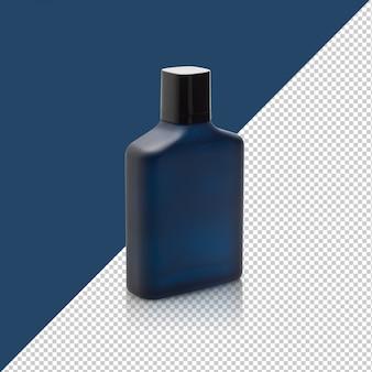 Donkerblauwe fles parfum mockup sjabloon voor uw ontwerp.