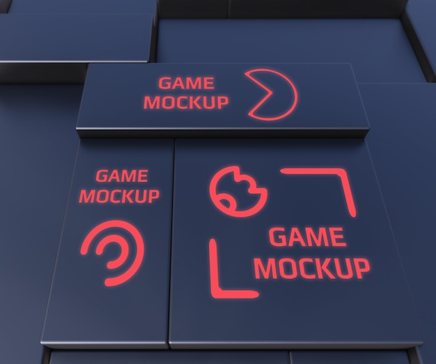 Donkere achtergrond met rood neon logo