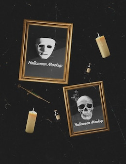 Donkere achtergrond met schedel en masker mock-up frames