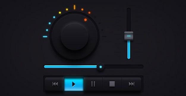 Donkere audio ui-elementen muziekspeler