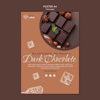 Donkere chocolade poster sjabloon Gratis Psd