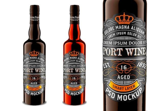 Donkere drank glazen fles mockup design