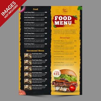 Donkere en gele restaurantvoedselmenupromotiesjabloon premium psd