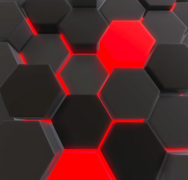 Donkere en gloeiende zeshoeken achtergrond