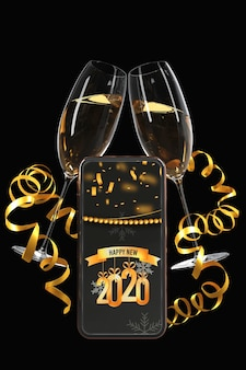Donkere en gouden weergave met telefoon en bril