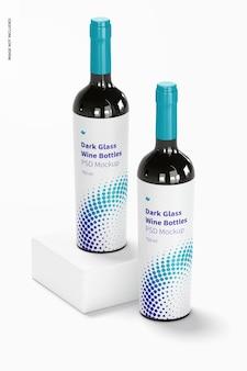 Donkere glazen wijnflessen mockup, perspectief