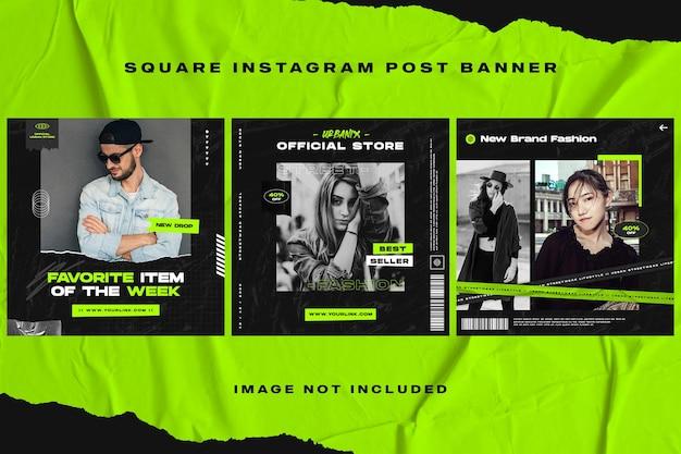 Donkere mode instagram post-sjabloon voor spandoek