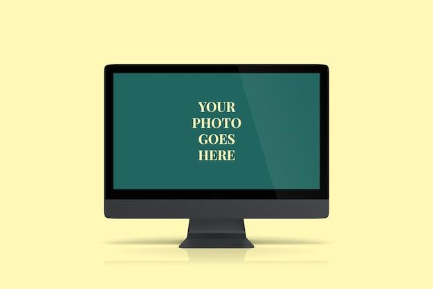 Donkergrijze desktop mockup vooraanzicht hoek