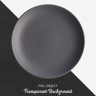 Donkergrijze ronde ceramische plaat op transparante achtergrond