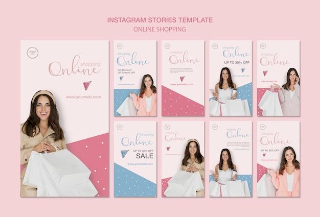 Donna con i sacchetti di shopping storie di instagram
