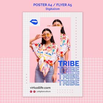 Donna con modello di poster digitalismo segno di pace