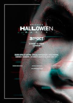 Donna del primo piano con effetto di trucco e di glitch di halloween