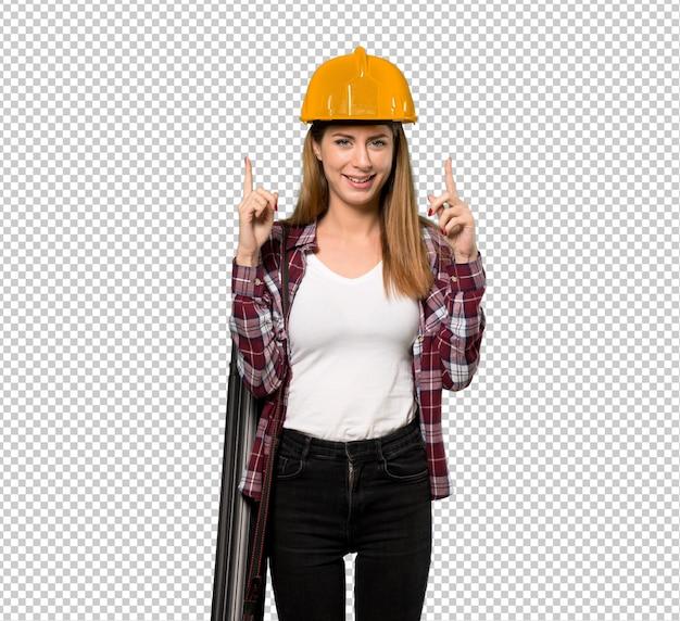 Donna dell'architetto che indica con il dito indice una grande idea