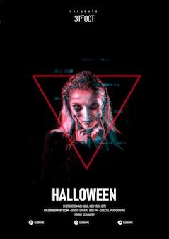 Donna di trucco di halloween in un triangolo e effetto glitch