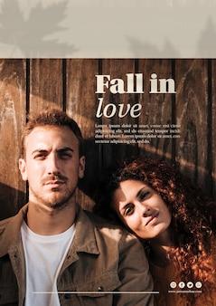 Donna ed uomo sul modello web verticale di autunno