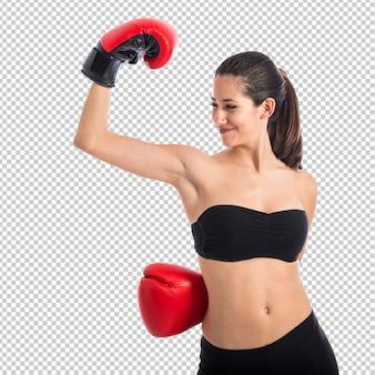 Donna sportiva con guantoni da boxe