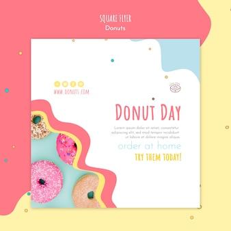 Donut concept vierkante flyer-sjabloon