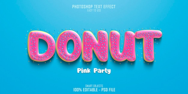 Donut pink party tekst stijl effect sjabloon