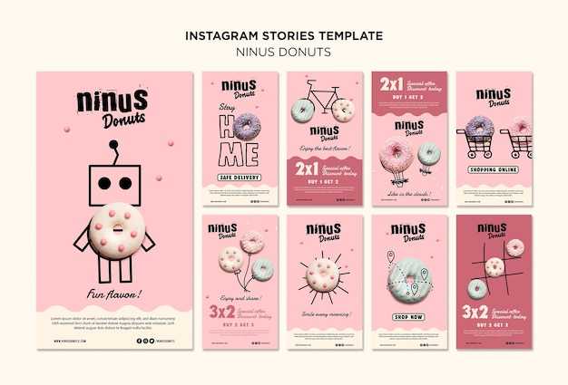 Donuts concept instagram stories template