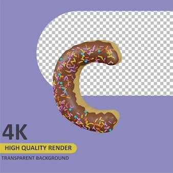 Donuts letra c renderizado de dibujos animados modelado 3d