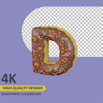 Donuts letra d renderizado de dibujos animados modelado 3d