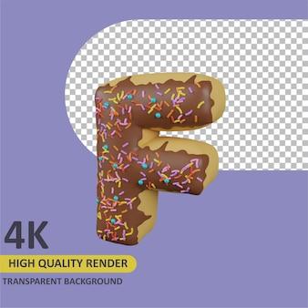 Donuts letra f renderizado de dibujos animados modelado 3d