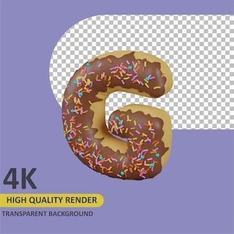 Donuts letra g renderizado de dibujos animados modelado 3d
