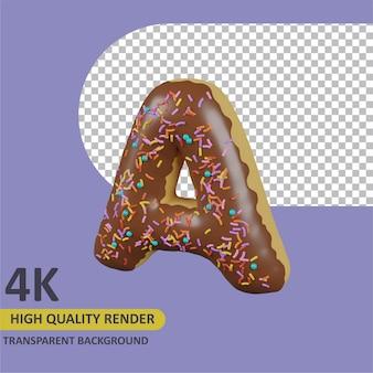 Donuts letra a renderizado de dibujos animados modelado 3d