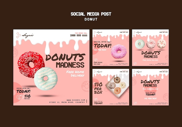 Donuts madness social media post-sjabloon