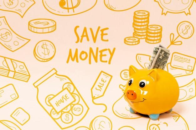 Doodle achtergrond met spaarvarken en geld