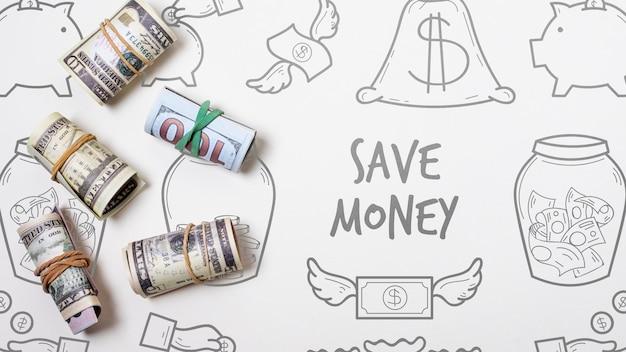Doodle fondo financiero con billetes de banco