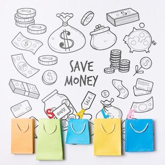 Doodle fondo financiero con bolsas de papel