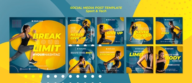 Doorbreek uw limieten sport social media post
