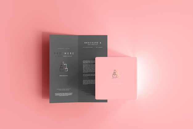 Doos met bi-fold brochure mockup