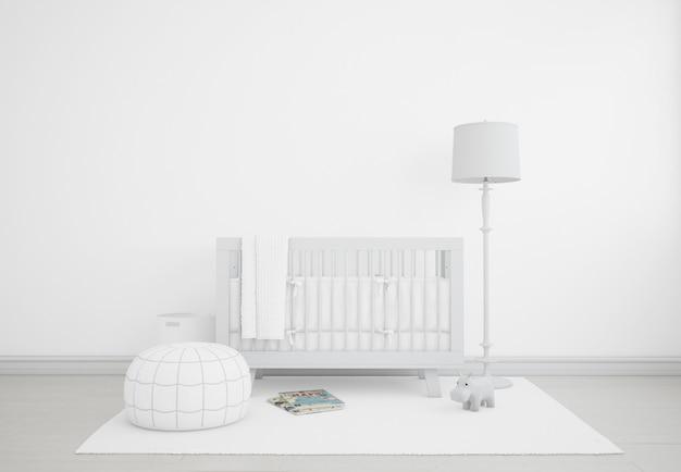 Dormitorio de bebé blanco realista con cuna