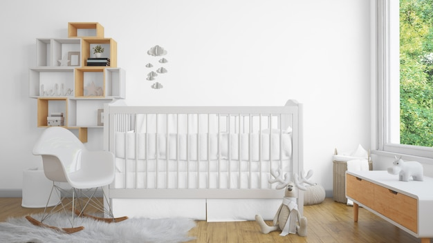 Dormitorio de bebé blanco realista con una ventana y una cuna