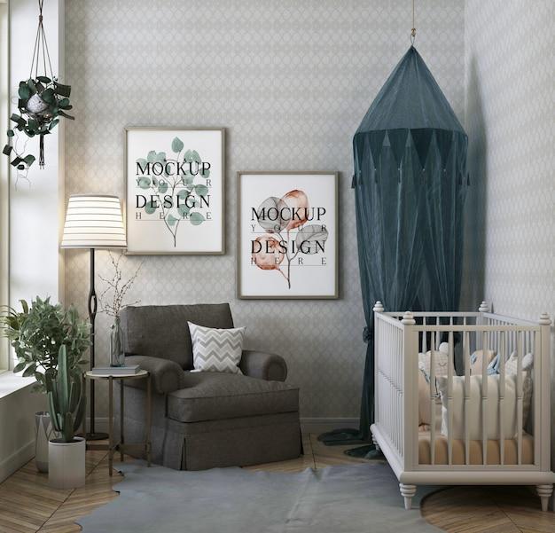 Dormitorio de bebé clásico moderno con maqueta de marco de póster