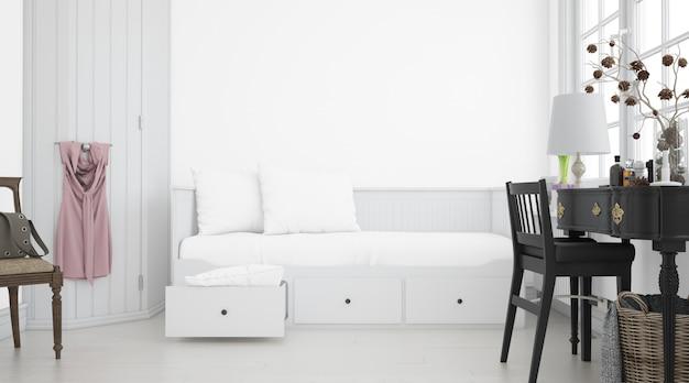 Dormitorio blanco realista con muebles