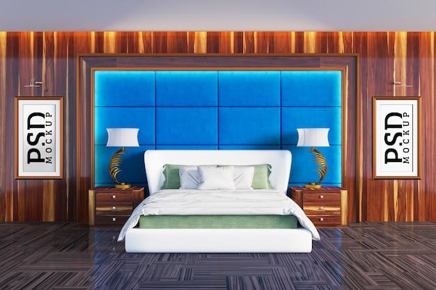 Dormitorio con detalles de paredes de colchón verde y dos marcos para cuadros